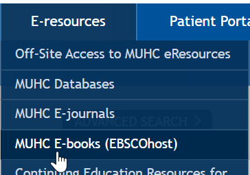 Where to find the e-book collection link in the e-resources menu