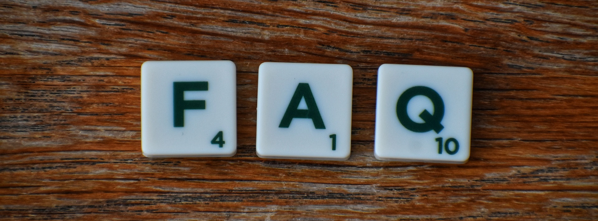FAQ image made of Scrabble pieces